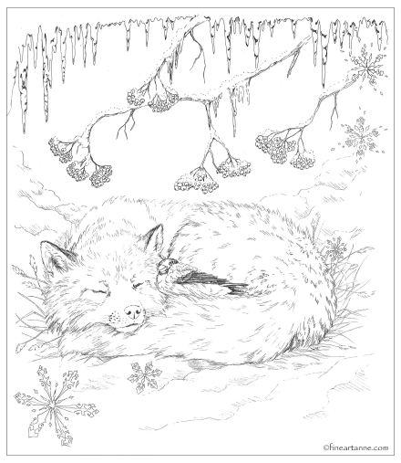 Winter friends - Red Fox and Bullfinch