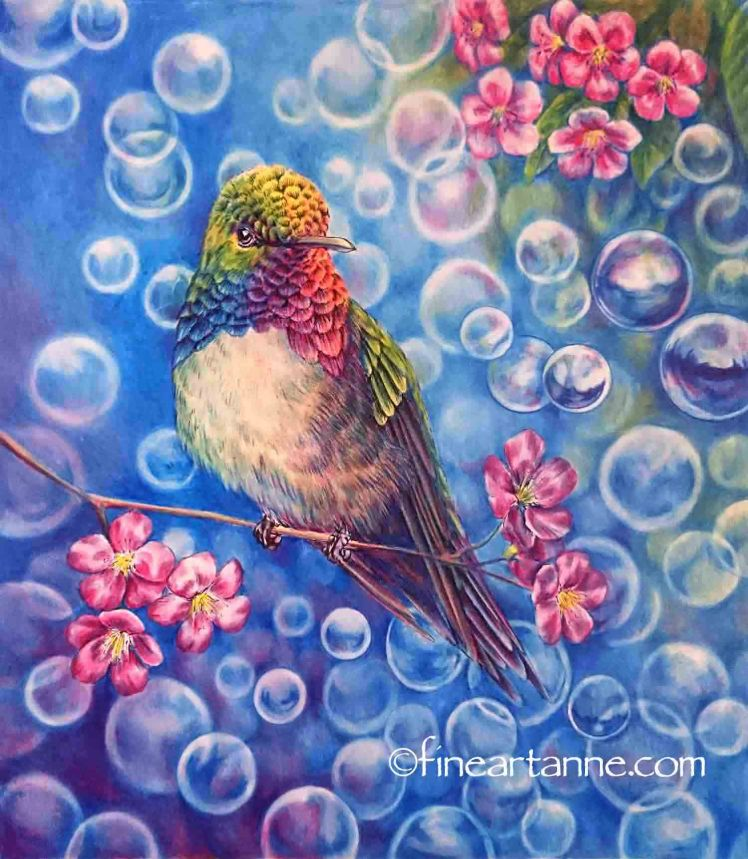 Finished picture of my Rainbow Hummingbird with primary colors