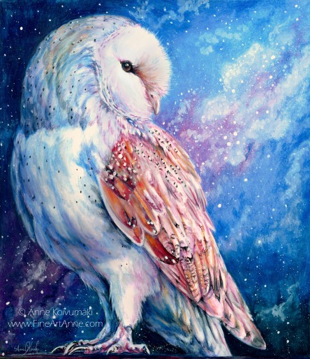 Barn Owl and Starry Sky