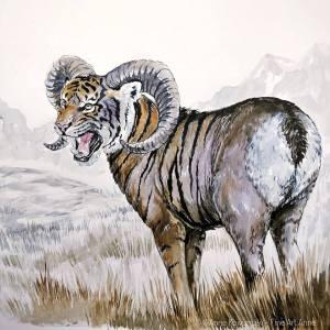 #drawcreature #inktober #inktober2018 #tigsheep #tiger #marchmashup #marchmashup2019