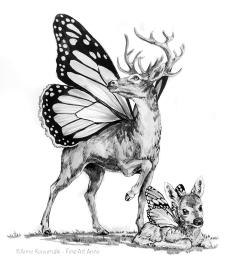 #inktober #inktober2018 #drawcreature #deerfly #deer #butterfly #ink #inkdrawing #fantasycreature #fantasyart #marchmashup #marchmashup2019