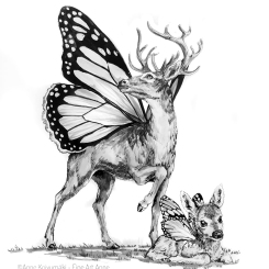 #inktober #inktober2018 #drawcreature #deerfly #deer #butterfly #ink #inkdrawing #fantasycreature #fantasyart #marchmashup #marchmashup2019