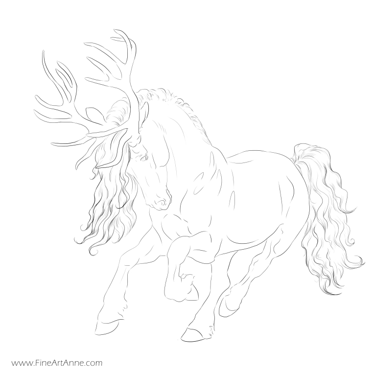 Free coloring picture Horse + deer