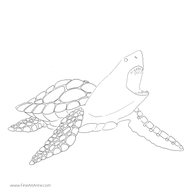 Free coloring picture Shark + turtle| Shartle